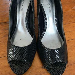 Shoes - Black Peep-toe Heels Size 7.5